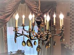10 light chandelier in solid brass red 20th century