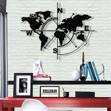 map compass metal wall decor art