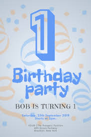 Boys Birthday Party Invitations Templates Blue Baby Boy Birthday Party Invitation Template Postermywall