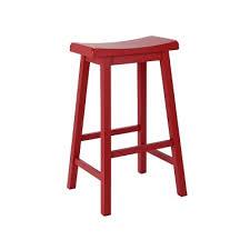 Hygena Solid Wood Saddle Bar Stool  Red