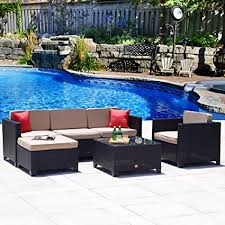 wicker patio furniture sets. Cloud Mountain Patio Furniture Set 6-Piece Wicker Rattan Gradient Black  Outdoor Sectional Sofa Wicker Patio Furniture Sets