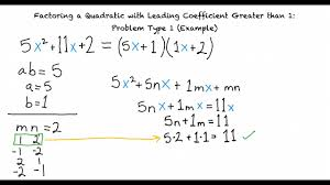 example factoring a quadratic with leading coefficient greater than
