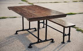 industrial dining furniture. 5\u0027 Industrial Pedestal Table Stained Dark Walnut Top With Matching Bench Industrial Dining Furniture