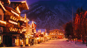 Christmas Lights Windows 10 Bavarian Style Village Near Cascade Mountains Decorated With