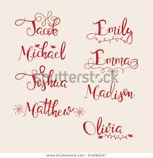 Stock Vektor Set Names Emma Emily Madison Jacob Bez Autorských