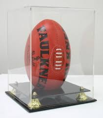 Football Stands Display FOOTBALL DISPLAY CASE with GOLD RISERS VERTICAL Display Stands 63