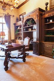 atherton library traditional home office. A Traditional And Ornate Home Office With Large Built-ins Behind The Desk. Beautiful Carved Desk Is Jewel Of Room. Do You Like Grandiose Atherton Library I