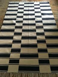 pottery barn and ticking stripe rug 5 x 8 black white for in ca kilim black white triangle rug and kilim runner
