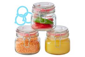 andrew james set of 3 glass preserving jars