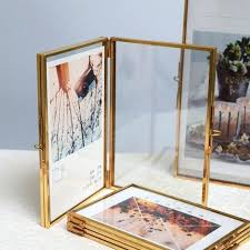 folded double sided glass metal photo frame botanical specimen holder electroplated gold covered display stand
