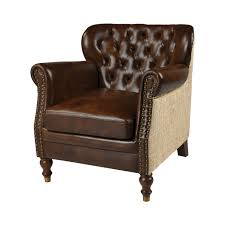 leather occasional chair tan leather natural burlap