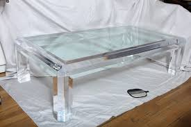 ... White Square Lucite Coffee Table Curtain Long Sleves An American Stdibs  Tremendous Wooden ...