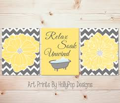 21 yellow wall decor bathroom wall art yellow grey gray white daisy flower print mcnettimages com
