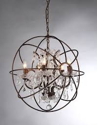 spherical chandelier orb chandelier wood brown iron with crystal neon lamp jpg marvelous