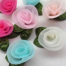<b>30pcs Ribbon</b> Flowers <b>Bows</b> Carnation <b>Appliques</b> Craft Wedding ...