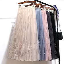 <b>Women Summer</b> Pink <b>Tulle Skirt</b> High Waist Pearl Pleated Maxi ...
