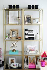 plain vittsjo shelves from ikea get a glam revamp into gold etageres fit for a luxe chic ikea home office