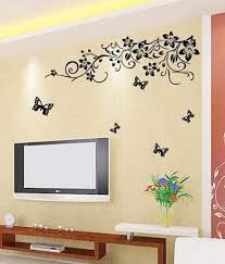 wow interiors and decors tv background fl wall sticker