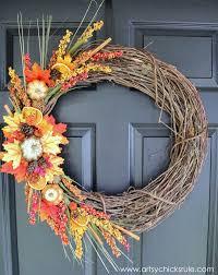 DIY Fall Wreath - Fall Themed Tour - On Door - #fall #falldecor #
