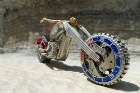 mini custom chopper red white and blue made from watch parts