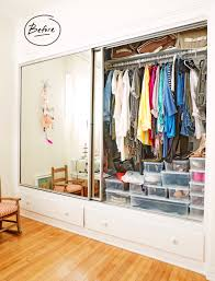 farah s small reach in closet had organization prior to us utilizing elfa in her closet but with the sliding doors it was almost impossible for her to