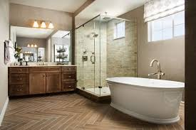 American Home Design Bathrooms Luxurious Soaking Tub And Glass Enclosed Shower Dayton