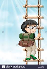 boy climbing up the ladder illustration stock vector art boy climbing up the ladder illustration