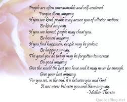 Mother Teresa Quotes Love Anyway Magnificent Mother Teresa Quotes On Life Do It Anyway M Is Etalksme