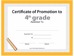 Promotion Certificate Template Fourth Grade Promotion Certificate Template Download Printable Pdf