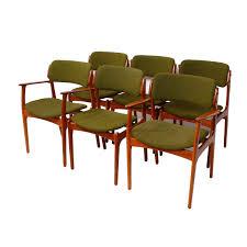 set of 6 designer danish modern teak dining chairs by erik buch sold danish
