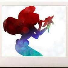 Small Picture Disney Princess Ariel Little Mermaid silhouette Watercolor Print