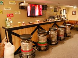 unique bar furniture. No Man Cave Would Be Complete Without A Bar. Use Statement Pieces To Create Focal Point, Like The Unique Bar Stools Seen Here. (via DIY Network) Furniture
