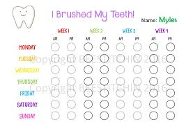 Teeth Cleaning Sticker Chart I Brushed My Teeth Tooth Brushing Chart 4 Colours Printable