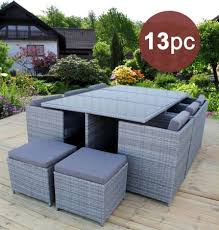 heredeco 13 piece outdoor porch lawn sectional dining wicker patio furniture sofa set furniture cushioned w