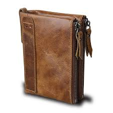 small vintage crazy horse leather rfid blocking wallet short purse bifold with double zipper pockets for