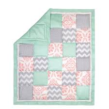 the peanut shell 3 piece baby crib bedding set mint green c and grey patchwork 100 cotton quilt crib skirt and sheet com