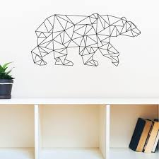 geometric bear wall stickers animals creative home decor wall art stickers vinyl wall decals on geometric bear wall art with geometric bear wall stickers animals creative home decor wall art
