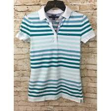 tommy hilfiger women polo shirt petite xs green white stripe classic fit 2