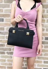 Michael Kors Karla Small East West Satchel Bag Black Leather 0