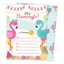 B Day Invitation Cards Flamingo 2 Happy Birthday Invitations Invite Cards 25 Count With Envelopes Seal Stickers Vinyl Girls Boys Kids Party