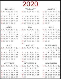 Free Printable Calendar 2020 With Holidays 12 Month