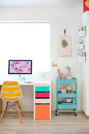 DIY IKEA desk hack with adhesive vinyl (via lovelyindeed.com)