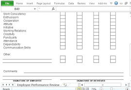Work Performance Evaluation Template Job Employee Review Excel – Pitikih