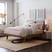 mid century modern bedroom. Modern Bed - Linen Weave Mid Century Bedroom