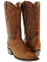 mens genuine ostrich foot cowboy boots round toe