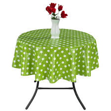 round indoor and outdoor green polka dot design tablecloth