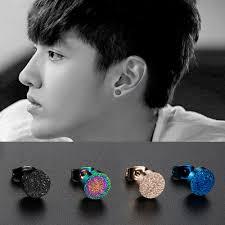 1pcs Men Jewelry Ear Stud Colorful Earring Anti Allergy Earlobe
