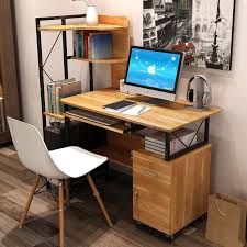 big office desk. new big office computer laptop wooden desk study table with book shelf s