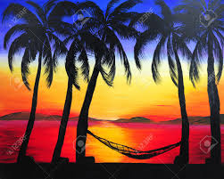 painting of sunset in the beach stock photo 17941131