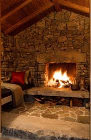 Decorations:Modern Rustic Stone Fireplace With Wooden Fireplace Mantel Also  Brown Leather Sofa And Cream